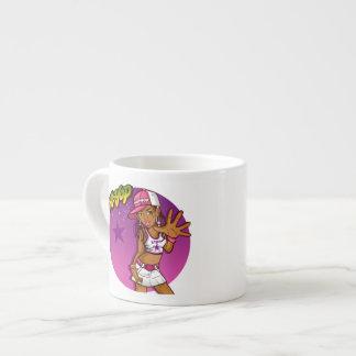 Dibujo animado rosado y púrpura del golpeador taza de espresso