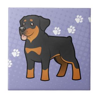 Dibujo animado Rottweiler Azulejo Cuadrado Pequeño