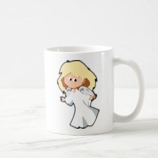 Dibujo animado rubio del navidad del ángel del taza clásica