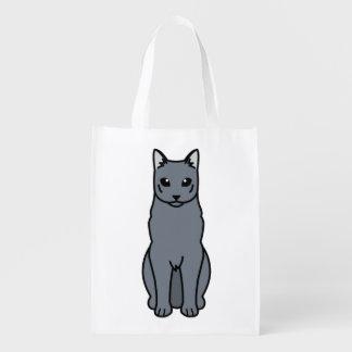 Dibujo animado ruso del gato azul bolsas reutilizables
