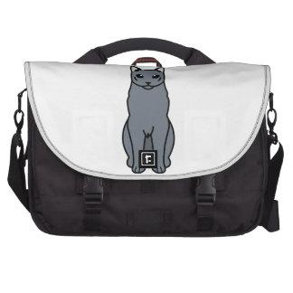 Dibujo animado ruso del gato azul bolsa de ordenador