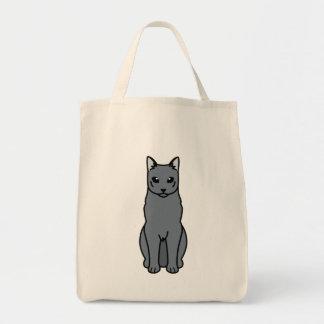 Dibujo animado ruso del gato azul bolsa de mano