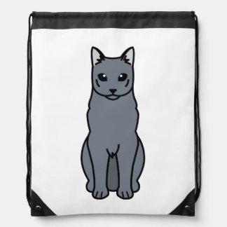 Dibujo animado ruso del gato azul mochila