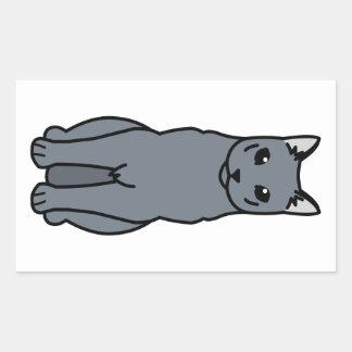 Dibujo animado ruso del gato azul rectangular pegatinas