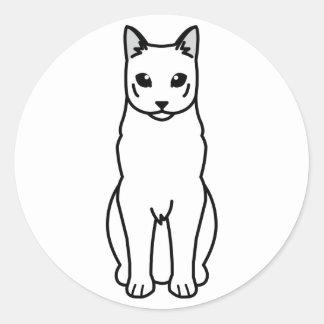 Dibujo animado ruso del gato azul etiqueta redonda