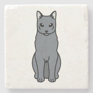 Dibujo animado ruso del gato azul posavasos de piedra