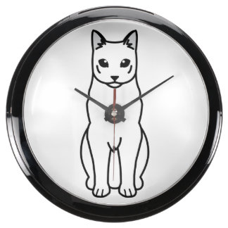 Dibujo animado ruso del gato negro relojes aquavista