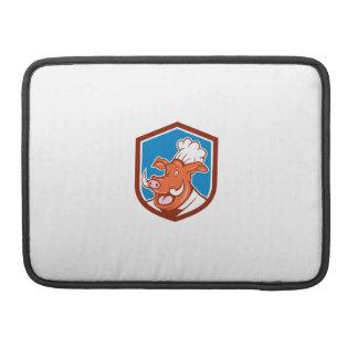 Dibujo animado salvaje del escudo de la cabeza del fundas para macbook pro