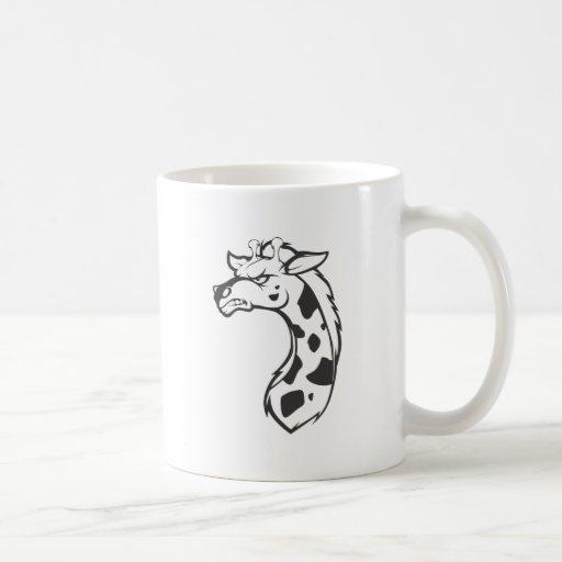 Dibujo animado salvaje enojado enojado del esquema taza de café