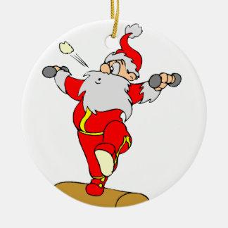 Dibujo animado Santa del levantamiento de pesas Adorno Navideño Redondo De Cerámica