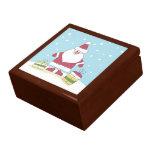 Dibujo animado Santa en la nieve con los regalos Cajas De Joyas