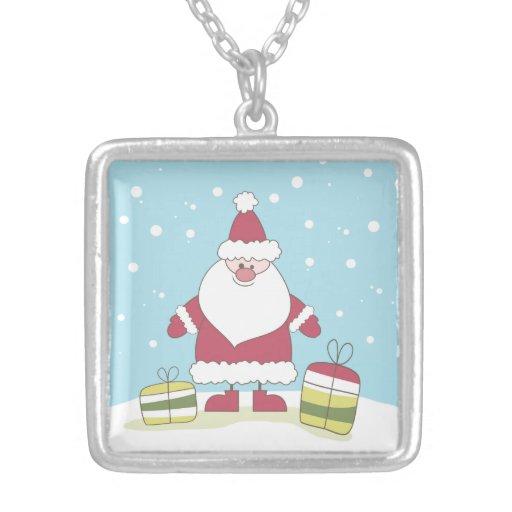 Dibujo animado Santa en la nieve con los regalos Collares Personalizados