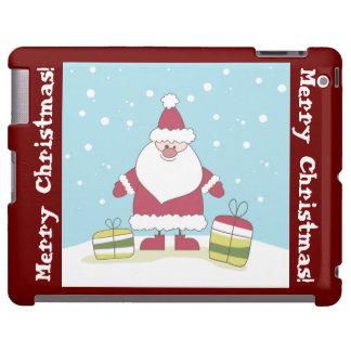Dibujo animado Santa en la nieve con los regalos Funda Para iPad