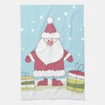 Dibujo animado Santa en la nieve con los regalos Toalla De Cocina