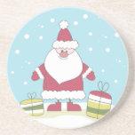Dibujo animado Santa en la nieve con los regalos Posavaso Para Bebida