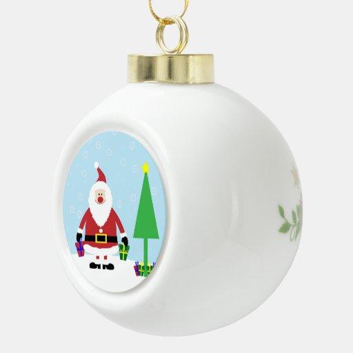 Dibujo animado Santa Nevado con los regalos y el á Adornos