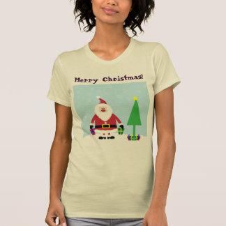 Dibujo animado Santa Nevado con los regalos y el Playera