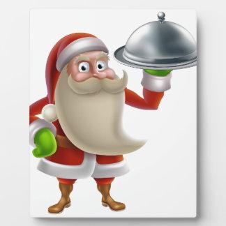 Dibujo animado Santa que cocina la cena de navidad Placas Con Foto