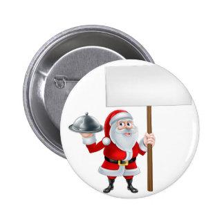 Dibujo animado Santa que lleva a cabo la muestra Pin Redondo 5 Cm