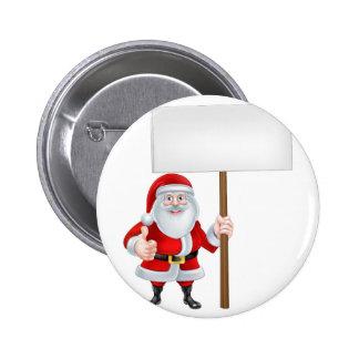 Dibujo animado Santa que lleva a cabo una muestra Pin Redondo 5 Cm