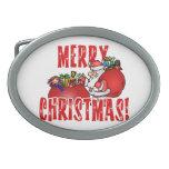Dibujo animado Santa y bolsos de los juguetes del  Hebilla De Cinturón Oval