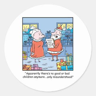 Dibujo animado Santas del navidad buenos y mala Pegatina Redonda