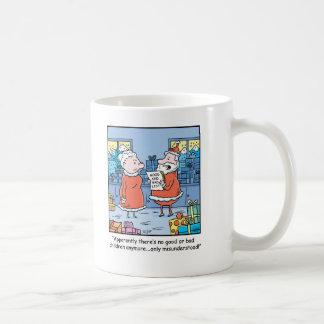 Dibujo animado Santas del navidad buenos y mala Taza Básica Blanca