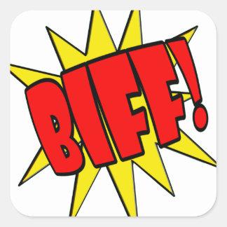 Dibujo animado SFX del Biff Pegatina Cuadrada