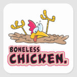 dibujo animado sin hueso divertido del pollo calcomanías cuadradases