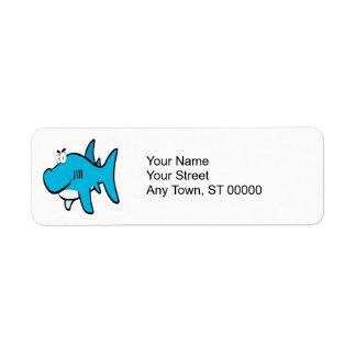 dibujo animado smirking del tiburón etiquetas de remite