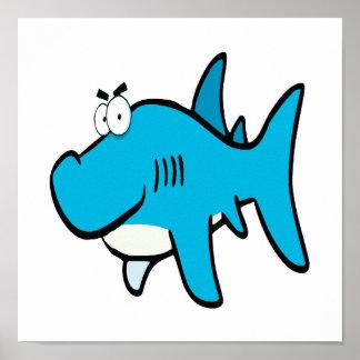 dibujo animado smirking del tiburón poster