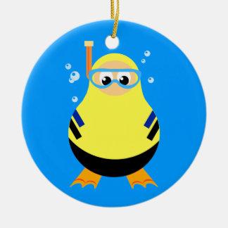 Dibujo animado Snorkeler del salto Ornamento Para Arbol De Navidad