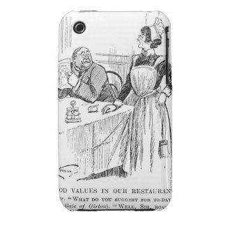 Dibujo animado sobre una camarera educada iPhone 3 Case-Mate protectores