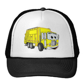 Dibujo animado sonriente amarillo del camión de ba gorras