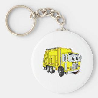 Dibujo animado sonriente amarillo del camión de ba llavero redondo tipo pin