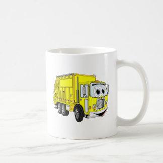 Dibujo animado sonriente amarillo del camión de ba tazas