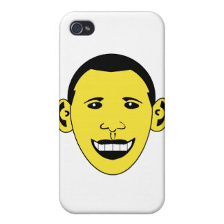 Dibujo animado sonriente amarillo Obama iPhone 4 Protector