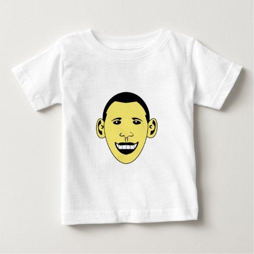 Dibujo animado sonriente amarillo Obama Playera De Bebé