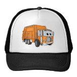 Dibujo animado sonriente anaranjado del camión de  gorros bordados