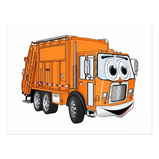 Dibujo animado sonriente anaranjado del camión de postal