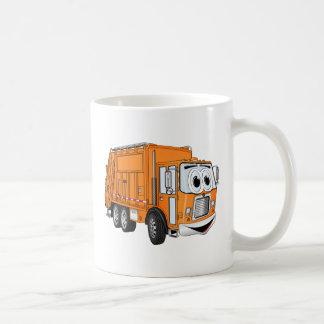 Dibujo animado sonriente anaranjado del camión de  tazas