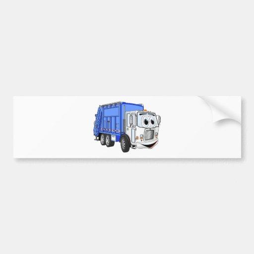 Dibujo animado sonriente blanco azul del camión de pegatina para auto
