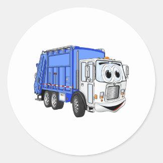 Dibujo animado sonriente blanco azul del camión de pegatina redonda