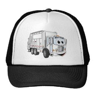 Dibujo animado sonriente blanco del camión de basu gorro