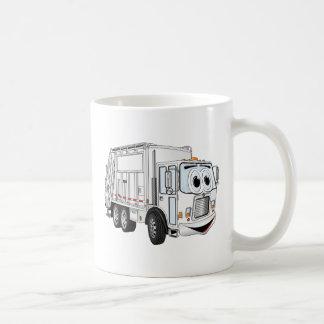 Dibujo animado sonriente blanco del camión de basu tazas