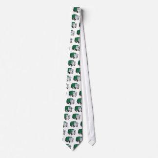Dibujo animado sonriente blanco verde del camión corbata