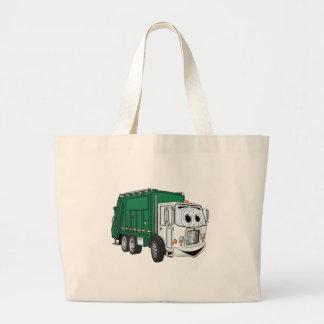 Dibujo animado sonriente blanco verde del camión d bolsa tela grande
