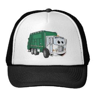 Dibujo animado sonriente blanco verde del camión d gorros