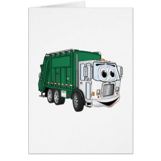 Dibujo animado sonriente blanco verde del camión d tarjeta de felicitación