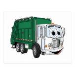 Dibujo animado sonriente blanco verde del camión d tarjeta postal